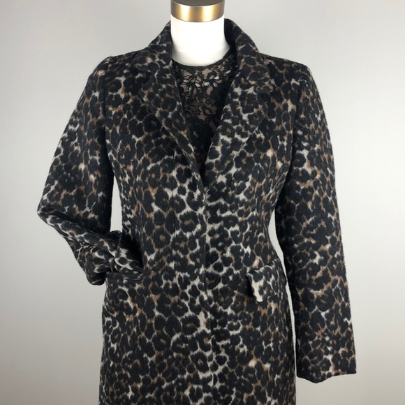 Old Navy Leopard Print Wool Coat, Size S